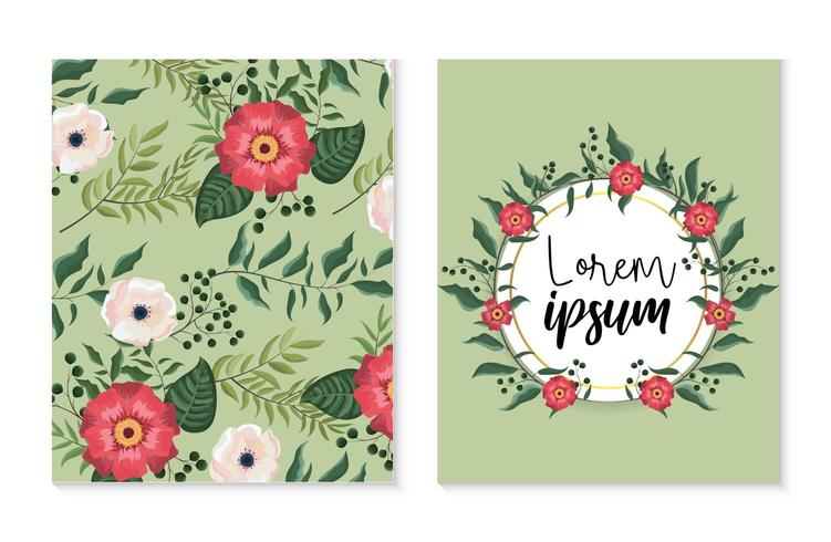 impostare la carta e l'etichetta con piante di fiori e rose vettore
