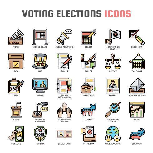 Elezioni elettorali, linea sottile e icone pixel perfette vettore