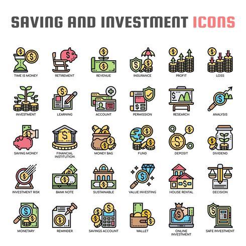 Icone di sottile linea di risparmio e investimento vettore
