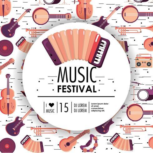acourdion e strumenti per l'evento del festival musicale vettore