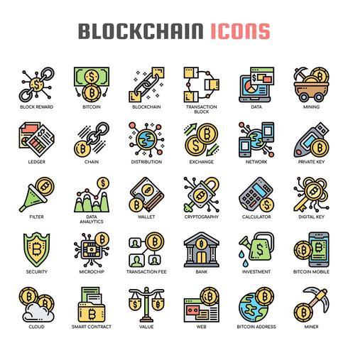Icone di linea sottile Blockchain vettore