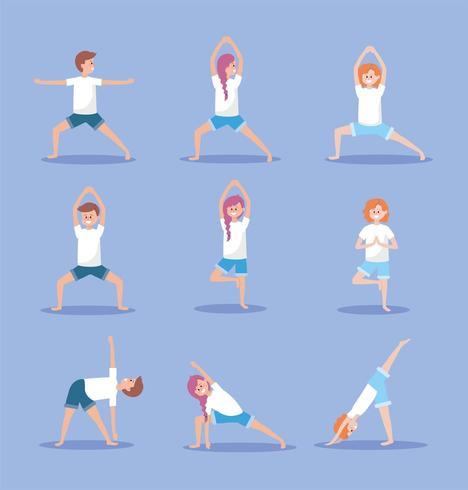 impostare le donne e l'uomo praticare la posizione di esercizio di yoga vettore