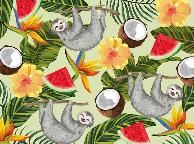 bradipo con cocco tropicale e fiori esotici vettore