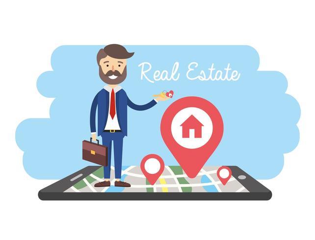 uomo d'affari con smartphone e mappa di vendita di proprietà vettore