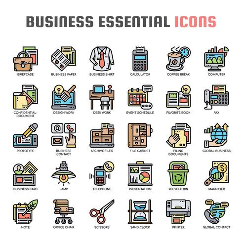 Icone di affari essenziale linea sottile vettore