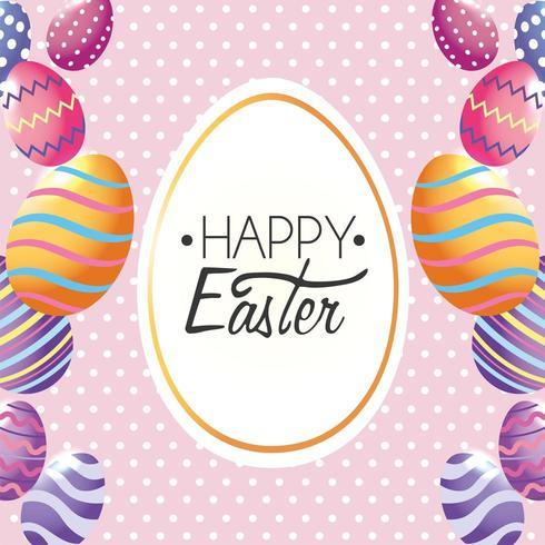 Buona Pasqua, etichetta decorazione con le uova di Pasqua all'evento vettore