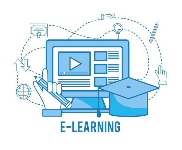 studio online di computer con cappello di laurea vettore