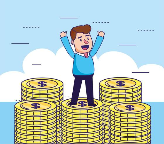 uomo con monete denaro contante per l'online banking vettore