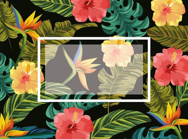 emblema con fiori tropicali e foglie di sfondo vettore