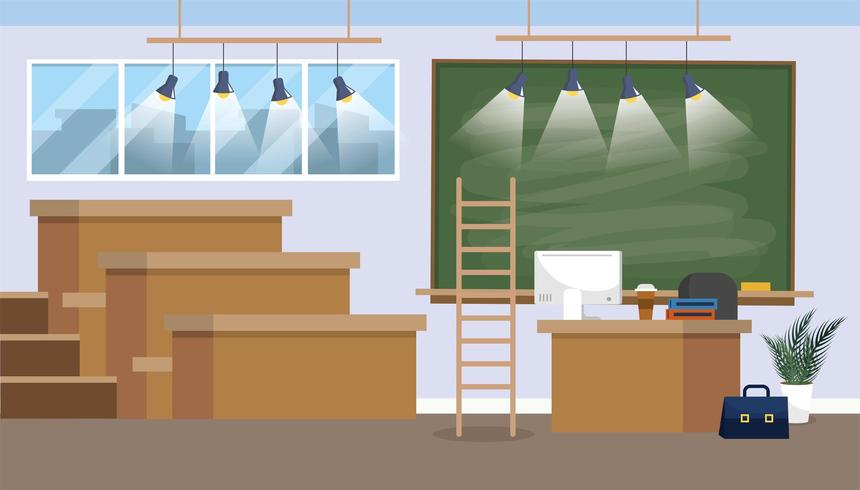 preparazione dell'aula universitaria con lavagna e luci vettore
