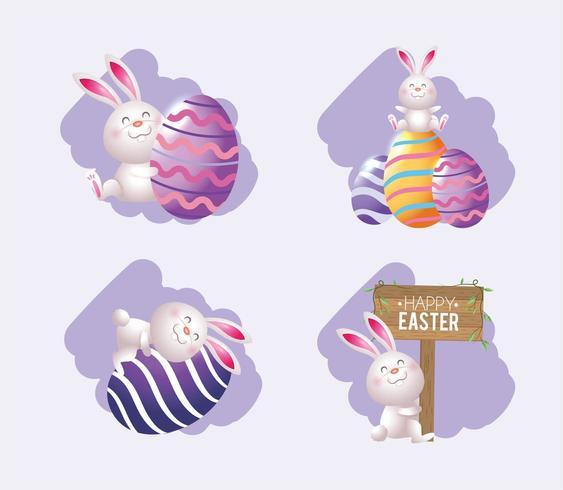 impostare il coniglio di Pasqua con uova decorazione ed emblema vettore