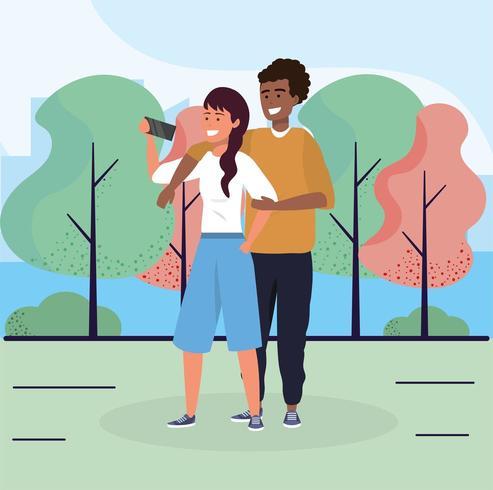 donna e uomo coppia insieme nel parco vettore