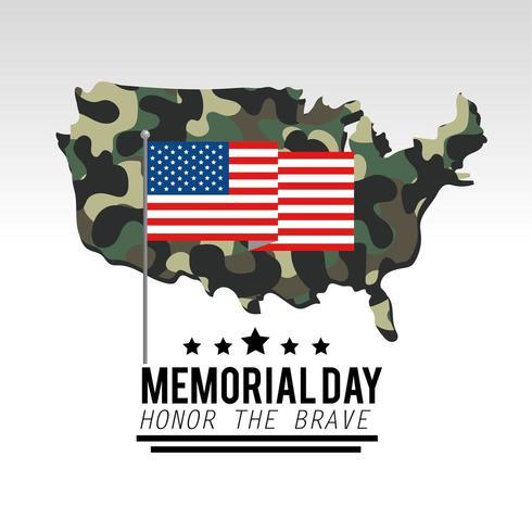 Bandiera USA con mappa mimetica militare vettore