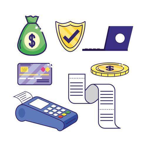 impostare servizi bancari online con laptop e dataphone elettronici vettore