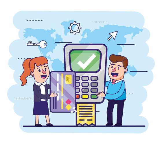 donna e uomo con carta di credito e dataphone vettore