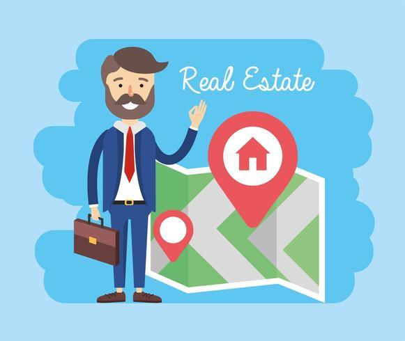 uomo d'affari con posizione sulla mappa delle proprietà in vendita vettore