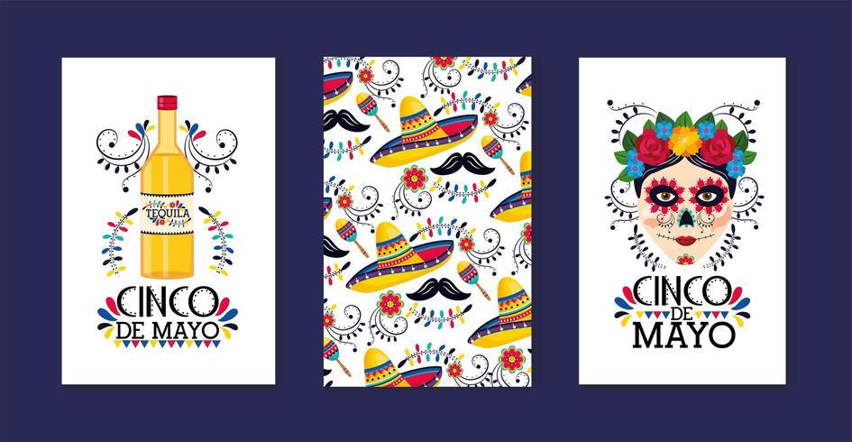 impostare le tradizionali carte messicane alla celebrazione dell'evento vettore