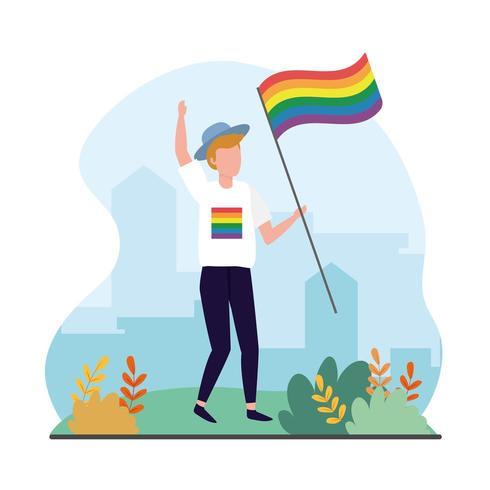 uomo con bandiera arcobaleno a celebrazione di lgbt vettore