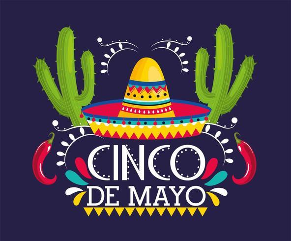Biglietto d'auguri Cinco De Mayo vettore