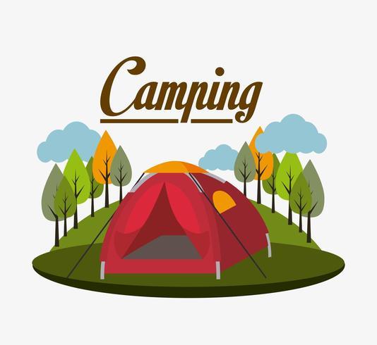 Campeggio con design tenda vettore