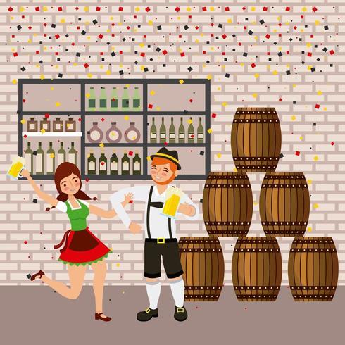 festa dell'Oktoberfest con botti, taverna e coppia che balla e tiene birre vettore
