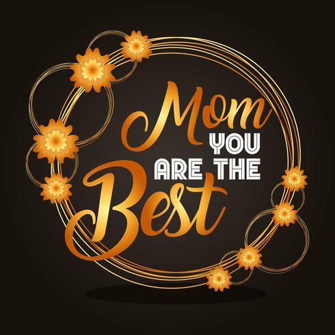 """biglietto per la festa della mamma con motivo floreale dorato e testo """"Mamma sei il migliore"""" vettore"""