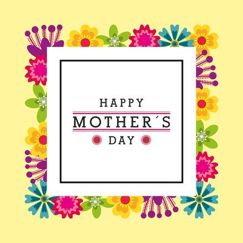 biglietto festa della mamma con casella di testo e decorazioni floreali vettore