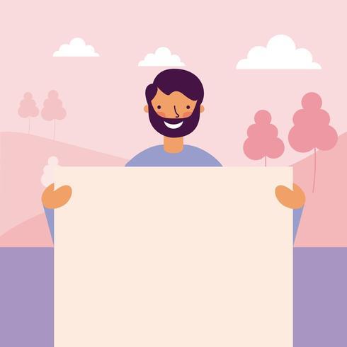 bandiera felice della holding dell'uomo della barba felice vettore