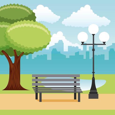 paesaggio del parco con panchina, lampione, lago e città vettore