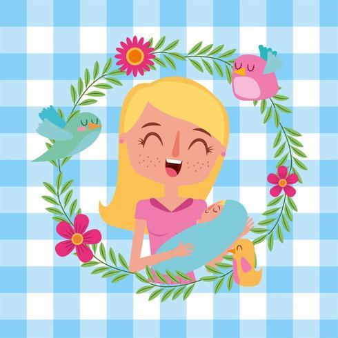 madre che tiene il suo neonato tra le braccia con ghirlanda di fiori vettore