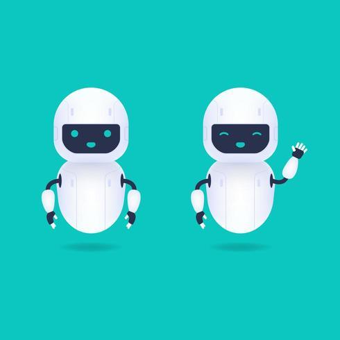 Personaggi di robot Android bianchi amichevoli vettore