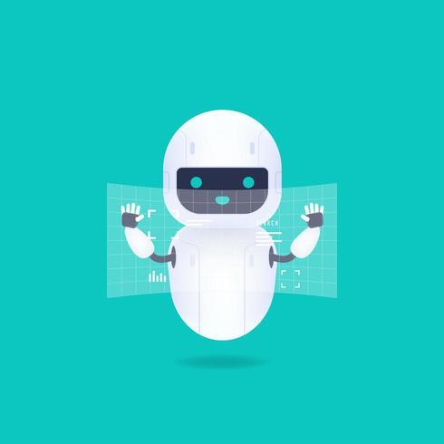 Robot Android bianco amichevole con schermo con interfaccia HUD vettore