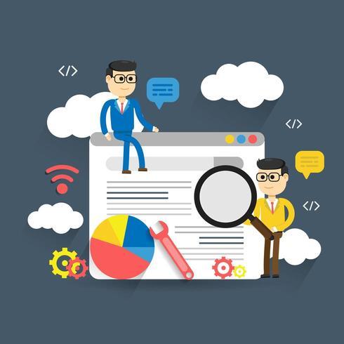 Illustrazione piana di analisi dei dati di web dell'illustrazione con due uomini intorno alla pagina Web vettore