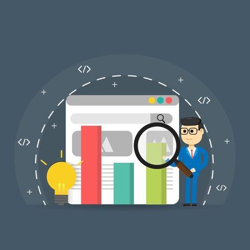 Classifica del motore di ricerca con la lente d'ingrandimento della tenuta dell'uomo sulla pagina Web vettore