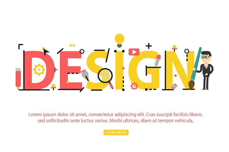 Concetto di design di parola con icone creative vettore