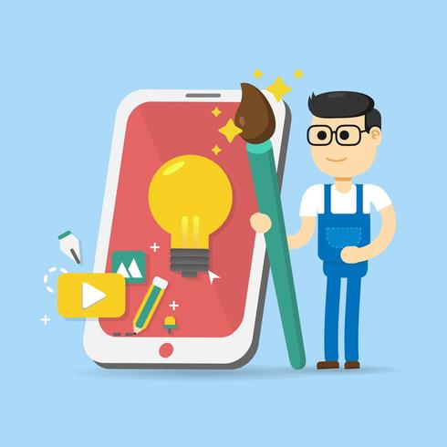 designer con pennello, cellulare e icone vettore