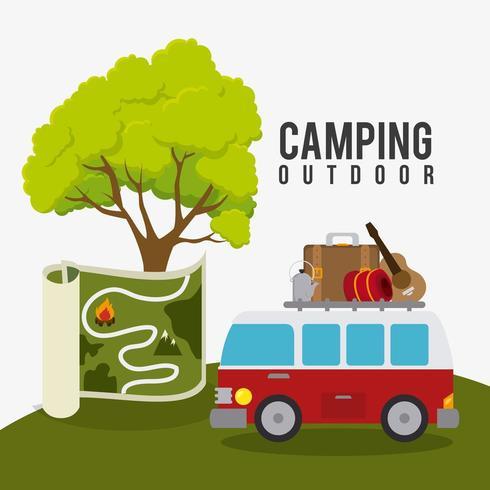 Campeggio, viaggi e vacanze vettore