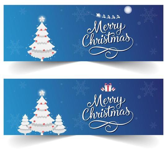 Banner di Natale blu con fiocchi di neve, regali e slitta di Babbo Natale vettore