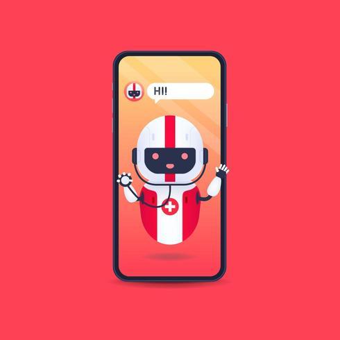 Robot androide medico amichevole con stetoscopio in smartphone. vettore
