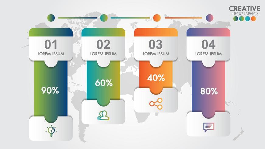 Modello di infografica per affari con 4 passaggi o opzioni vettore