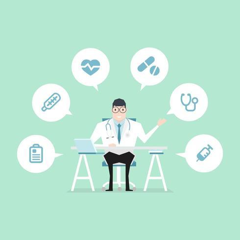Scrivania medico con icone mediche vettore