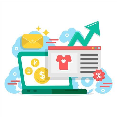 Computer portatile di marketing digitale con elementi doodle vettore