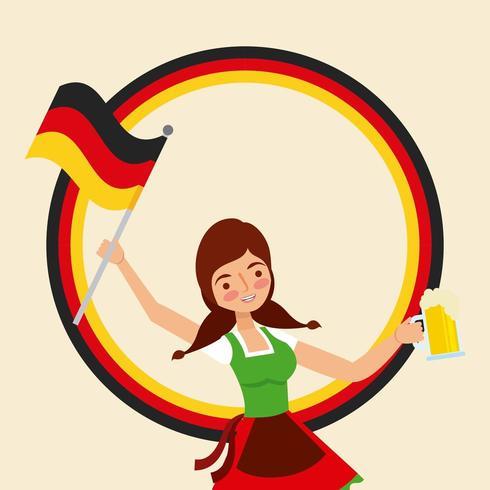 ragazza che tiene la bandiera e la birra della Germania vettore