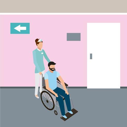 infermiera con paziente in sedia a rotelle vettore