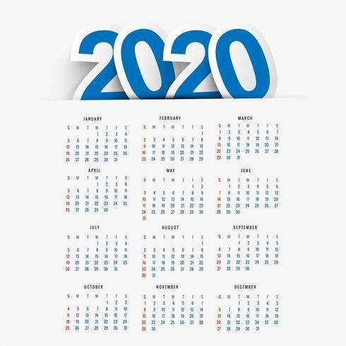 Calendario per il 2020 anno nuovo sfondo vettoriale