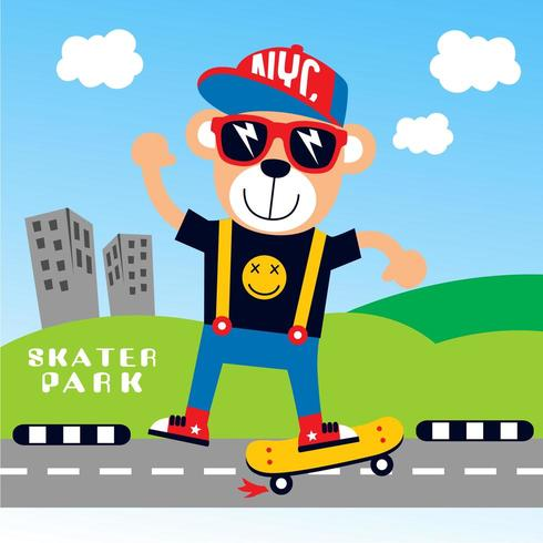 orso di skateboard in città vettore