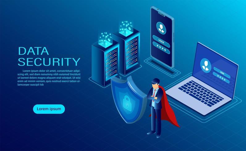 banner con eroe che protegge i dati su computer e dispositivi mobili vettore