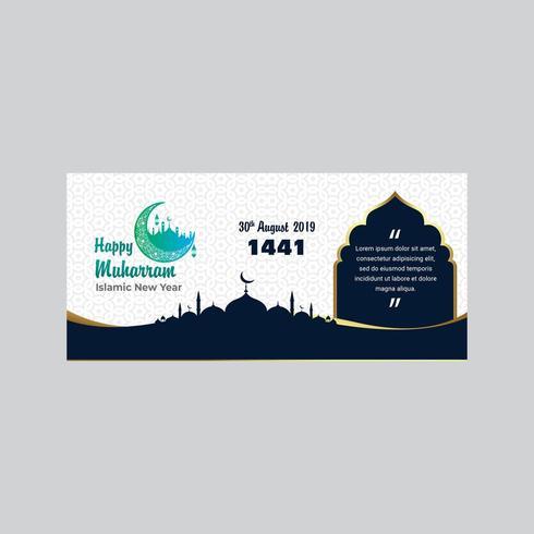 Felice anno nuovo islamico Muharram Hijri con edifici e luna vettore