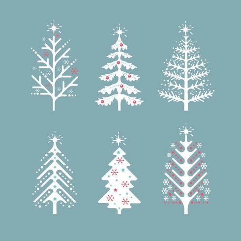 Collezione di alberi di Natale scandinavi vettore