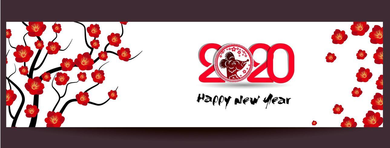 Felice Anno Nuovo Cinese 2020 Banner vettore